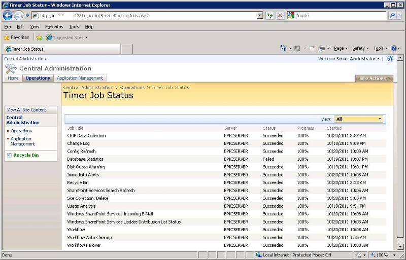 Timer Job Status