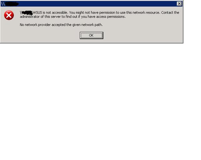 failed to access shared folder on Windows 2003 server