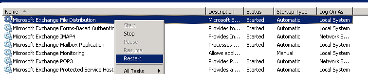 Restart Microsoft Exchange File Distribution Services
