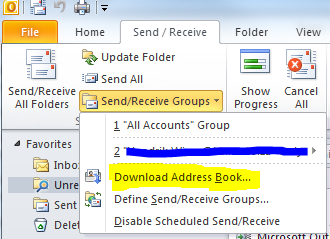 Exchange Address Book Outlook 2010