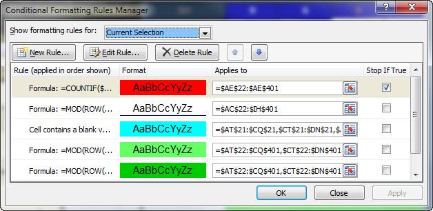 Conditional Formatting screenshot