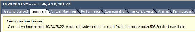 The ESXi error