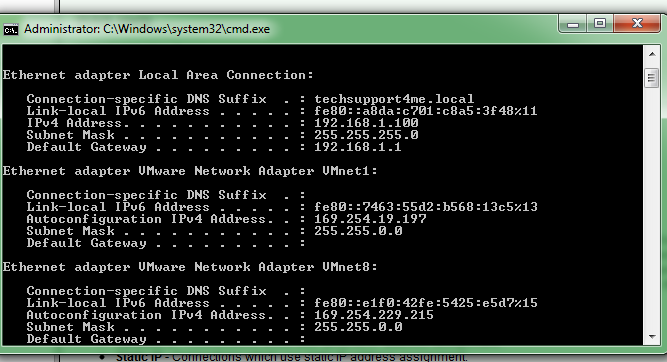 my ipconfig note the gateway