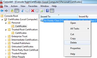 Delete Certificate