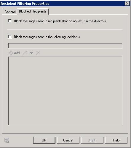 Recipient Filtering Properties
