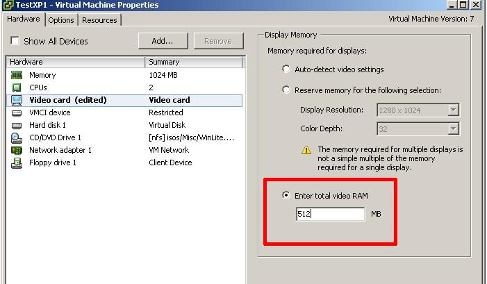 Virtual Machine Display Memory