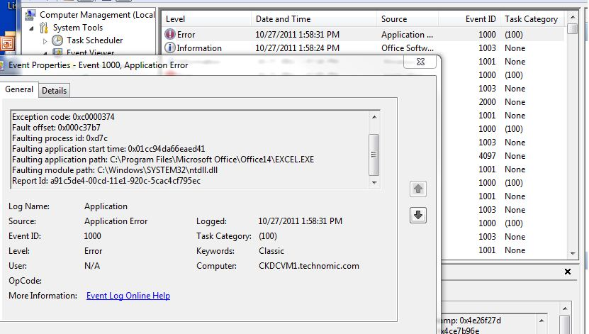 Excel 2010 SP1 crash ntdll dll