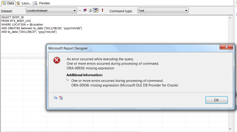 Report Parameter Prompt Error.