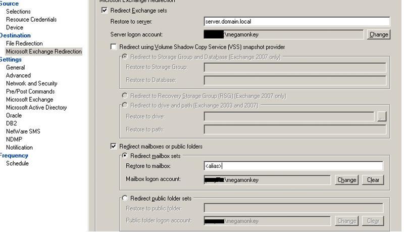 Microsoft Exchange Redirection