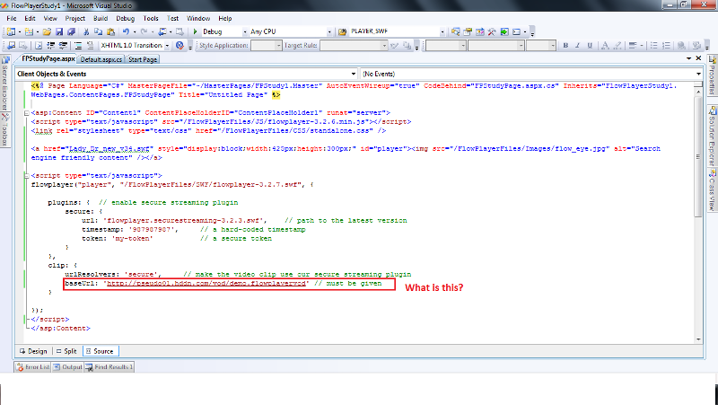 .aspx page code and the doubt part is marked as red box.