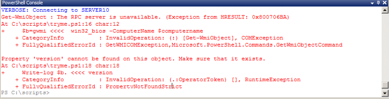 Error when contacting server