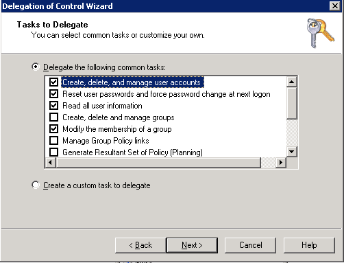 Delegate Control Wizard