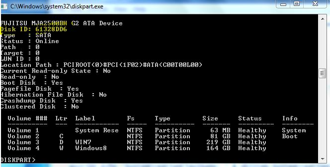 DISK ID via Diskpart command