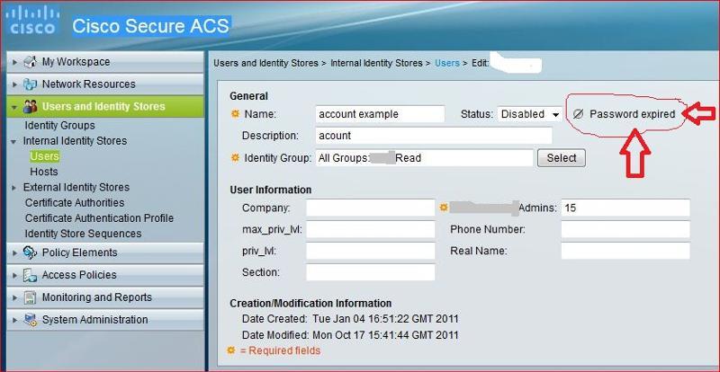 ACS Password Account Expire
