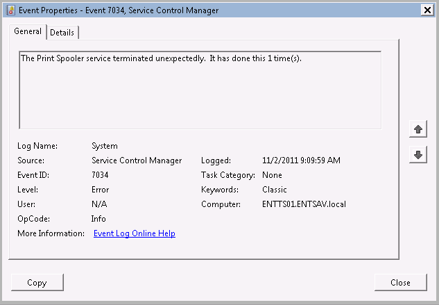 Event Viewer Error - spoolsrv exe Faulting Module - winspool drv