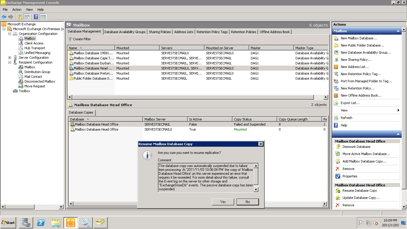 Exchange 2010 Dag Mailbox Not Synching