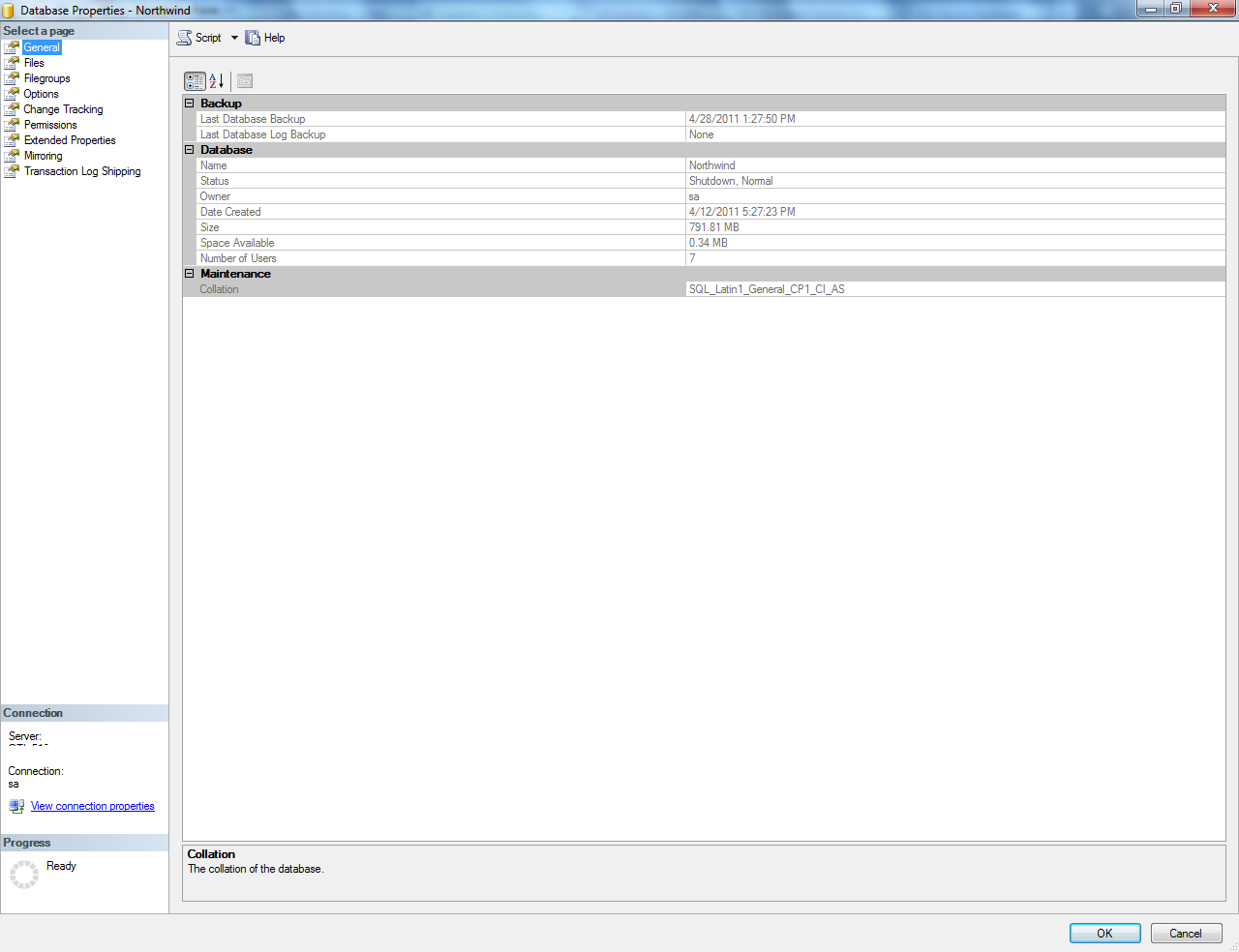 SQL Server Database - showing and understanding properties