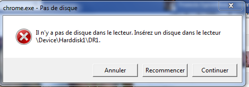 Error :There Is No Disk in the Drive  Please Insert a Disk into