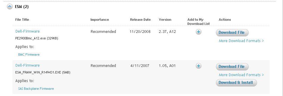 Controller PERC 5/i integrated firmware driver updates