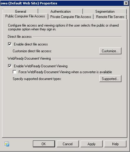 OWA - Public Computer File Access Tab