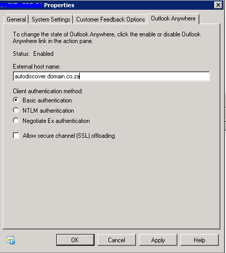 Autodiscover Settings on CAS Server Properties - Outlook Anywhere Tab