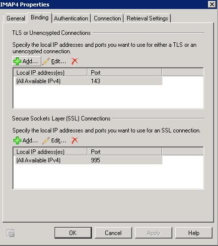 IMAP4 - Binding Tab
