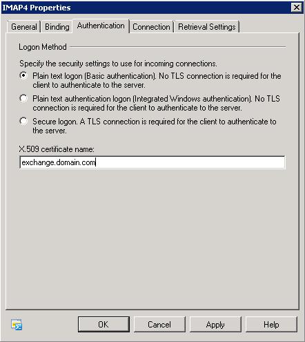 IMAP4 - Authentication Tab