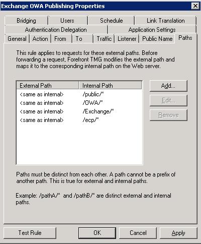 TMG - OWA Publishing Rule - Paths Tab