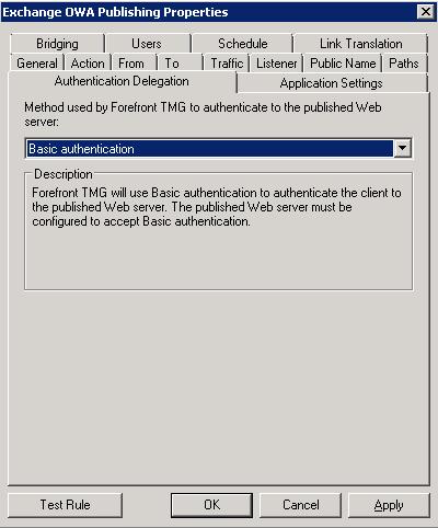 TMG - OWA Publishing Rule - Authentication Delegation Tab