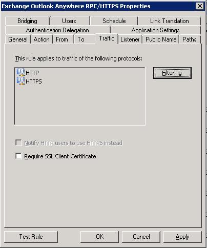 TMG - Outlook Anywhere Publishing Rule - Traffic Tab