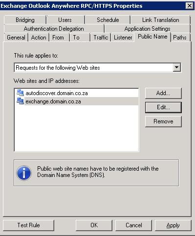 TMG - Outlook Anywhere Publishing Rule - Public Name Tab