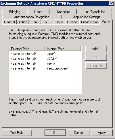 TMG - Outlook Anywhere Publishing Rule - Paths Tab