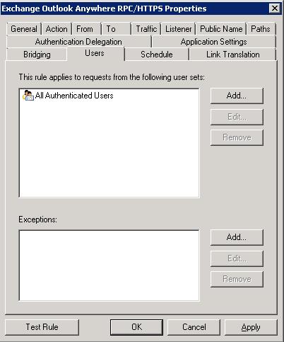 TMG - Outlook Anywhere Publishing Rule - Users Tab