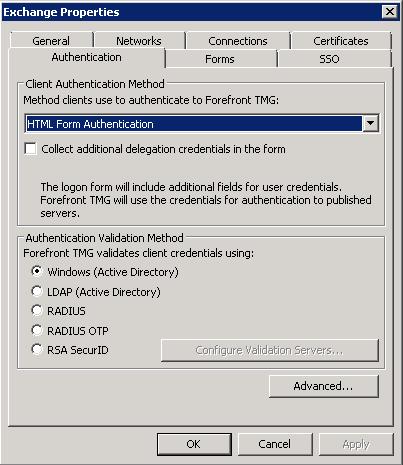 TMG - Listener Settings - Authentication Tab