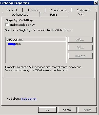 TMG - Listener Settings - SSO Tab