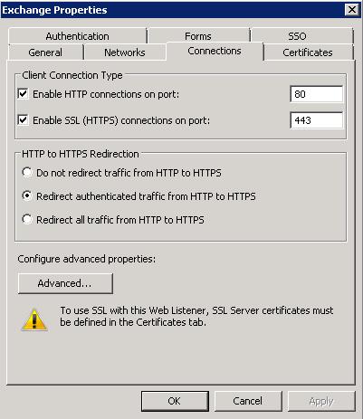 TMG - Listener Settings - Connections Tab