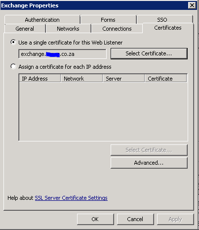 TMG - Listener Settings - Certificates Tab