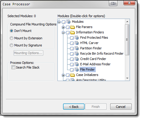 File Finder's location within the Case Processor EnScript