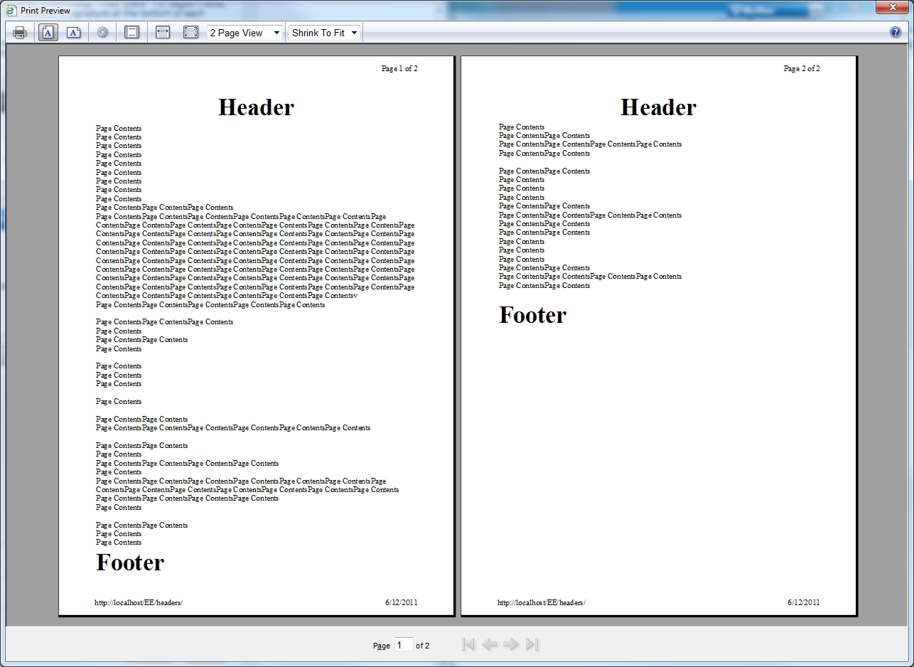 Repeating header and footer in printouts
