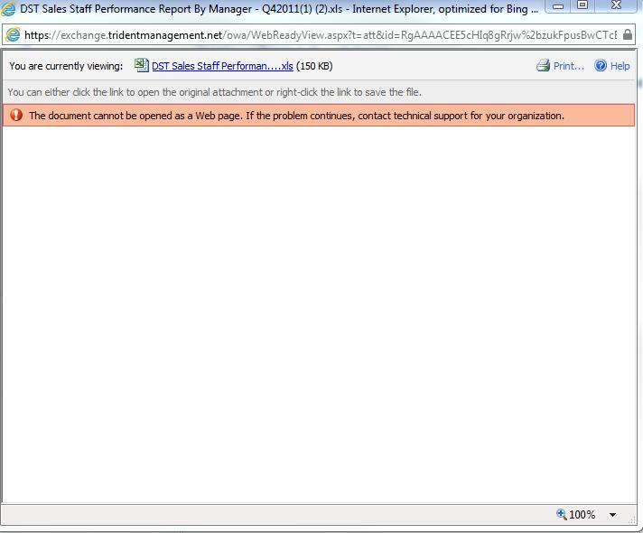 Web Ready Error on Excel .xls document
