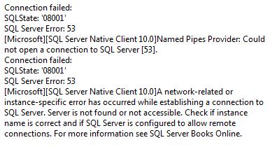 New SQL Connection Error