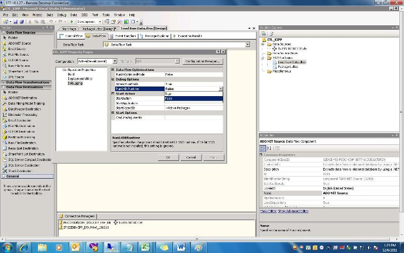 Change Debug Options to 32 bit at runtime