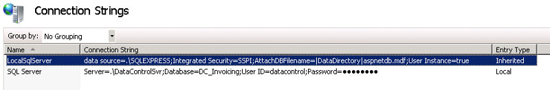 IIS Connection strings