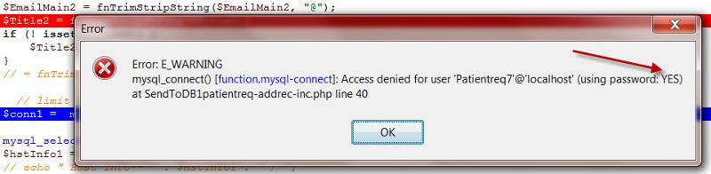 Access denied for user Patientreq
