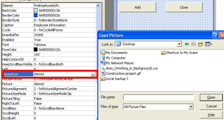 VBA Excel 2010 - Mouse Icon property
