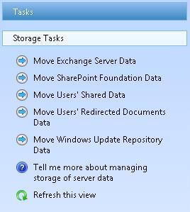 SBS 2011 Server Storage Tasks