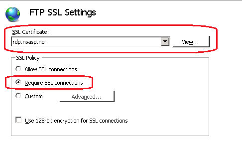How to setup secure FTP site on IIS7