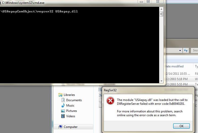 Regsvr32: DllRegisterServer failed with error code 0x80040201
