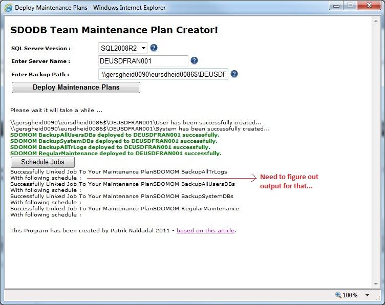 Maintenance Plan Deployment from WEB