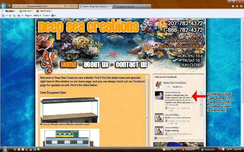 Screenshot of site while user IS signed into Facebook